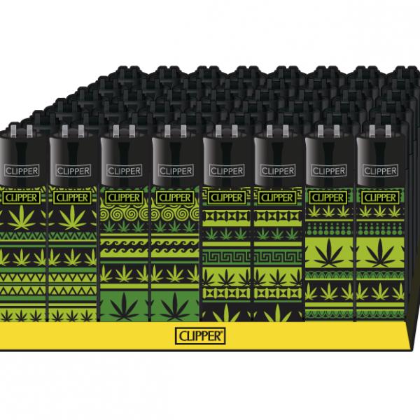 Clipper ~ Briquet motif cannabis (boîte 48 pcs.)