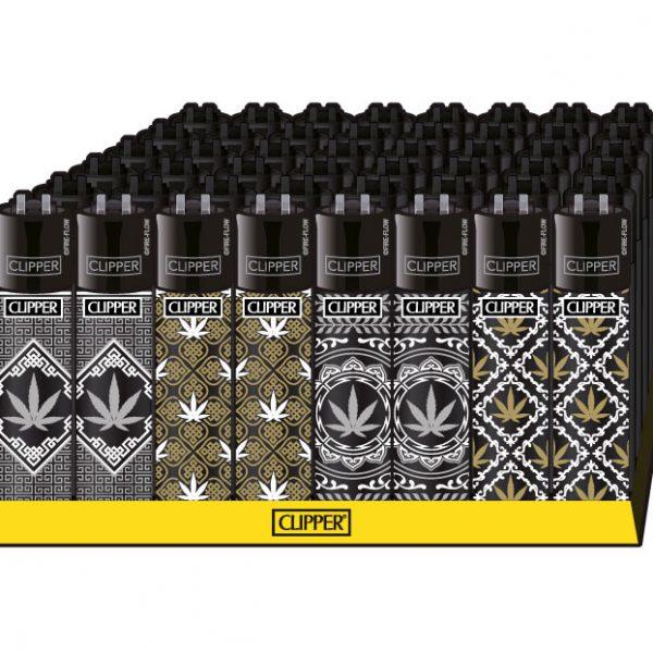 Clipper ~ accendino motivo canapa nero-oro (scatola 48 pezzi)