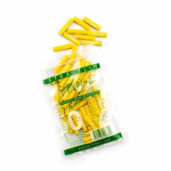 PURIZE® ~ Xtra Slim Aktivkohlefilter YELLOW ~ (50Stk.)