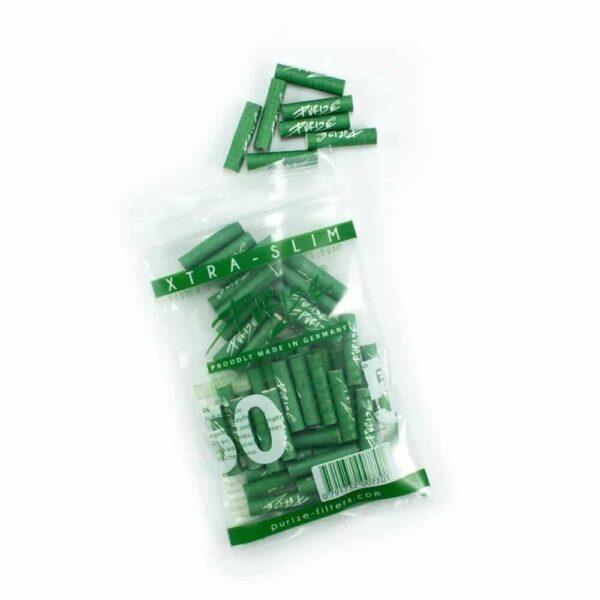 PURIZE® ~ Xtra Slim Aktivkohlefilter GREEN ~ (50Stk.)
